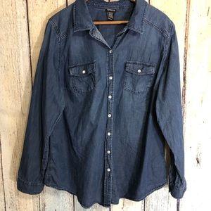 Torrid Denim Button Down Shirt 2 Western Top 16W